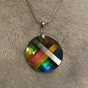 Rainbow 18kgp necklace with pendant